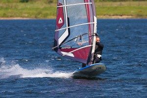 Windsurfing at Stithians Lake in Cornwall
