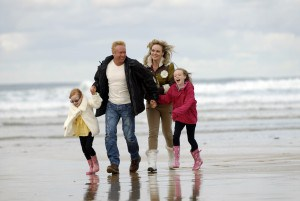 Fun on the beach at Hendra Holiday Park in Cornwall