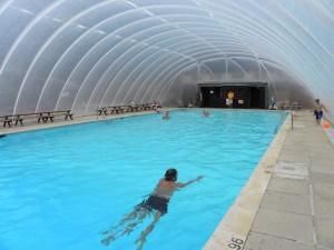 Swimming pool at Trewan Hall campsite in Cornwall
