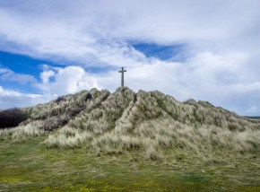 St Perran Cross at Perranporth Beach - a fascinating Cornish landmark.