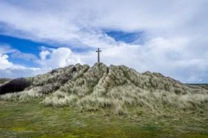 St Perran Cross at Perranporth Beach - a fascinating Cornish landmark.