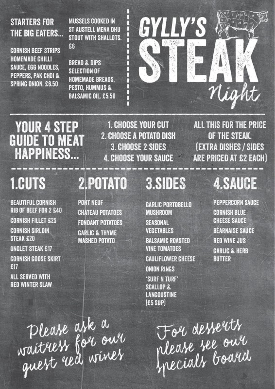 Things to do in Falmouth - Gylly Beach Cafe Steak Night