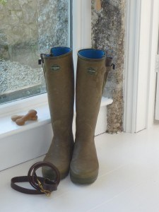 Wellies and dog lead