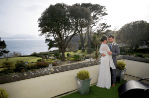 Talland Bay wedding with view